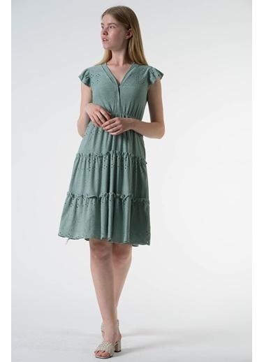 Reyon Kısa Kol Parçalı Uzun Elbise Siyah Yeşil